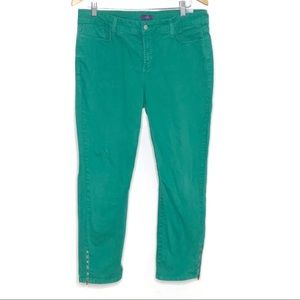 NYDJ Green Ankle Jeans with Zipper detail